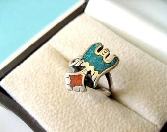 Navajo Sterling Silver Chip Inlay Peyote Bird Ring Size 6.5