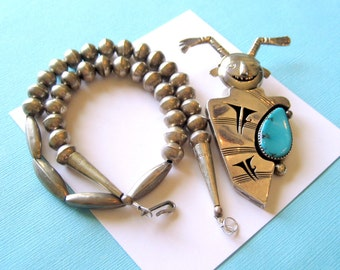 Navajo Nelson Morgan Sterling Silver and Turquoise Koshari Clown Pendant and Necklace