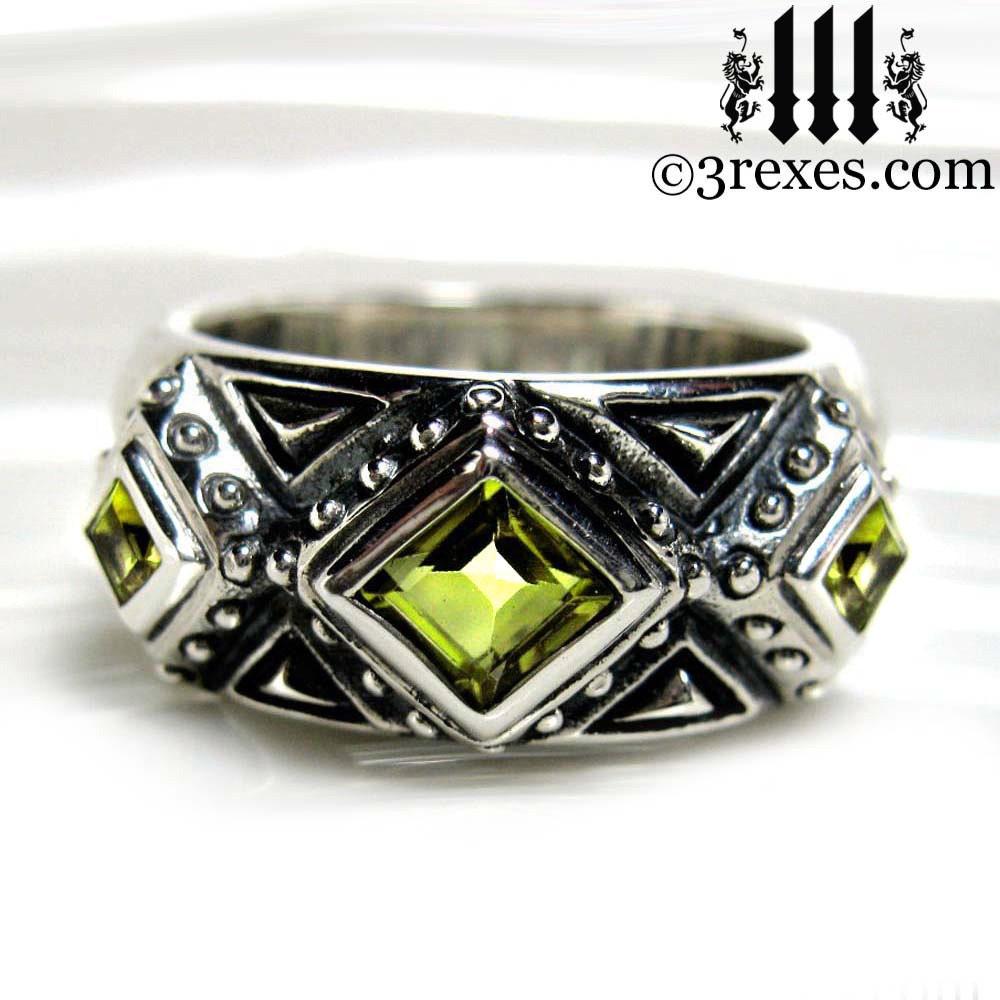 3 wedding ring green peridot mens by 3rexesjewelry