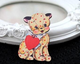 Kitten toy wooden brooch cute woodland cat dog red yelow  heart