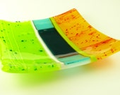 Bright Colorful Square Fused Glass Sushi Plate Dish in Lime Green Bright Orange and Turquoise Aquamarine Blue