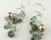Sterling Silver Handmade Lampwork Glass and Pearl Cascade Long Dangle Earrings in Shades of Gray