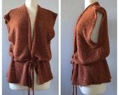 Vintage 1970s Nubby knit sweater vest / brown texture knit vest / lightweight sweatervest / kimono sweater