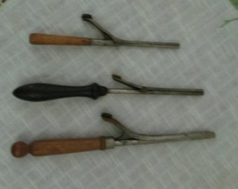 Curling Irons with thumb buttons Lot of 3 Antiques