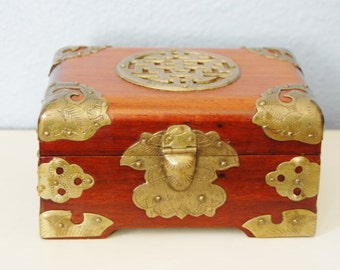 Vintage 1930s Wood and Etched Brass Chinese Hinged Lid Box Good Luck Asian Export