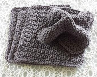 Dishcloths Gray Dish Cloths  Dish Rags Washcloths Wash Cloths Face Cloths