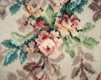 Vintage Barkcloth Era Pink Roses Wool Rug Carpet French Cottage Chic 11X12 Teal
