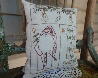 Decorative Winter/Christmas Pillow, Santa Sampler, Hand Stitched Pillow, Snowman