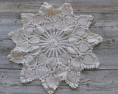 Crochet Doilies, Doillies, Round Vintage Pineapple  Doily, Off White Doily, Cream Doily, Ecru Colored