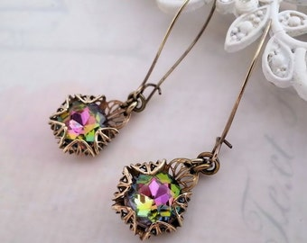 Czech glass earrings, vintage vitrail dangle earrings,  Art Deco earrings, rhinestone antique brass filigree jewelry, volcano drop earrings