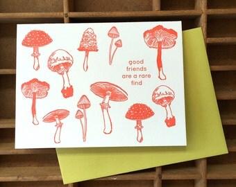 letterpress mushrooms friend card
