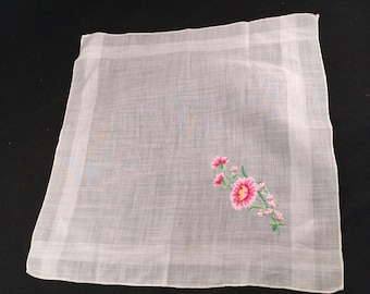 Vintage White Ladies' Hankie/Handkerchief with Embroidery Pink Flowers