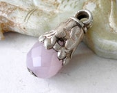 Vintage Tibetan Pendant Silver Repousse Pink Chalcedony Healing Pendant For Ethnic Jewelry Making
