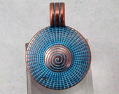 Round Pendant With Bail, Antique Copper & Blue Patina, AC198