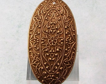 Brass Ox Embossed Oval Pendant, AB152