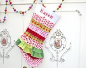 Reserved-Personalized- Ruffle Christmas Stocking -Green-R ed Xmas -dots-Retro-Vintage red button