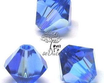 CLEARANCE Sale 36 Swarovski 5301 / 5328 6mm Sapphire AB Bicone Beads