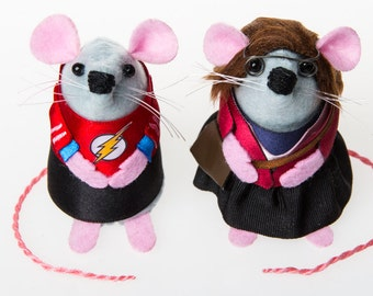 Shamy Sheldon Cooper and Amy Farrah Fowler The Big Bang Theory Mouse ornaments Artisan cute mouse rat gift for Big Bang Theory fans