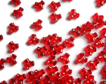 Red Tri Beads, Red Acrylic Beads, Jewelry Supplies