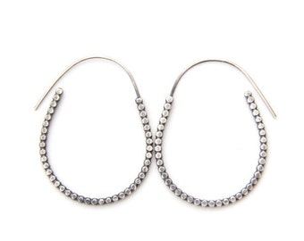 Unique oval hoops, silver oval beaded earrings, lightweight perfect for every day wear, Methra hoops