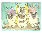 Flight of the Lucky Fairy Pugs - Choose from ACEO Print, Note Cards, or Art Print