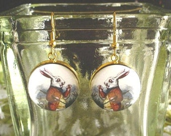 White Rabbit from Alice's Adventures in Wonderland Altered Art Earrings