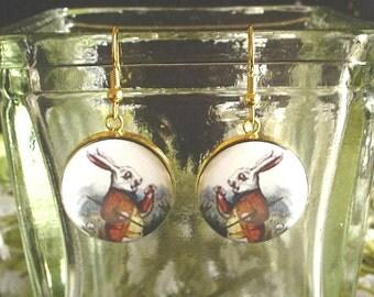 White Rabbit from Alice's Adventures in Wonderland Altered Art Earrings