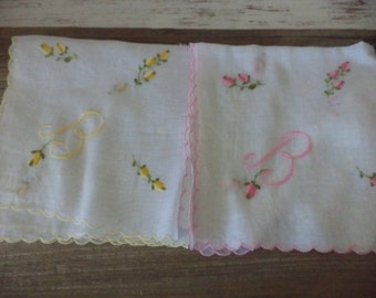 Vintage monogramed B ladies handkerchiefs hankies in pink and yellow with flowers and letter, you choose color