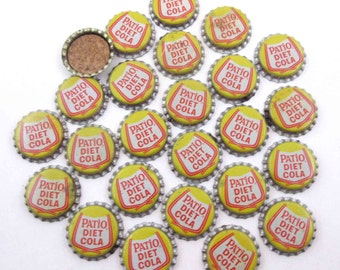Vintage Yellow Patio Diet Cola  Bottle Caps with Cork Backs Set of 25