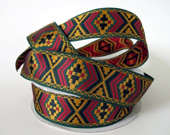 3 yards DESERT RIDE Jacquard trim in mustard, black, red on green. 1 1/2 inch wide. 2031-A