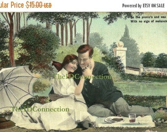 Valentines Day Sale Vintage Lovers Romance Postcard, Electronic Digital Download, Valentine Lovers, So the picnics end was jolly, with no si