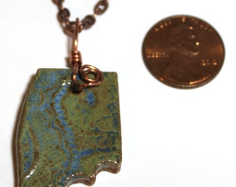 Hand Made Stoneware Pendant Necklace Abstract Green Blue OOAK Copper Wire