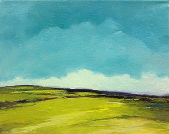 SOFT RISE, oil painting landscape painting, original oil, 100% charity donation, stretched canvas 8x10 clouds,