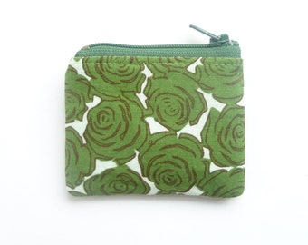 pill pouch. flash drive case. tiny cute zipper pouch. green rose fabric change purse. d ring. knit crochet stitch marker case. earbud holder
