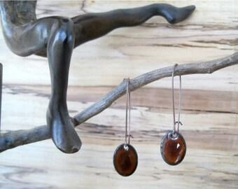Oval Mocha Brown Drop Earrings, Chestnut Brown Dangle Earrings, Copper Enamel, Espresso Chandelier Earrings