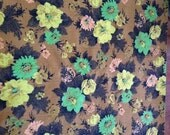 Vintage Floral Upholstery Fabric  - 1960's or 1970's - 8 3/4 yards
