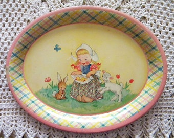 Vintage Tin Litho Tray Small Tea Set Tray with Easter Theme Bunny and Dutch Girl Holland