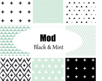Custom Crib Bedding-3 piece-Mod Black & Mint