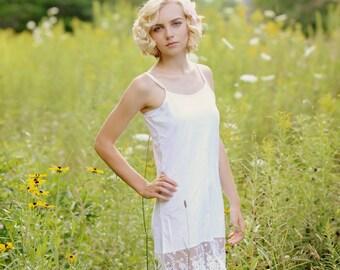 Full White Lace Slip Dress Extender, Cami Dress, Full slip, dress extender, Hem extender, layering cami dress
