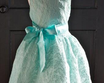 Aqua Mint Lace Flower Girl Dress, Mint Lace dress, mint Wedding, Vintage Style Lace Dress, Flower girl, Easter green