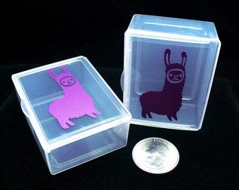 Box, container, Llama Mascot, stitchmarker container, llama, small container, notions holder, notions box, small box, vinyl decal