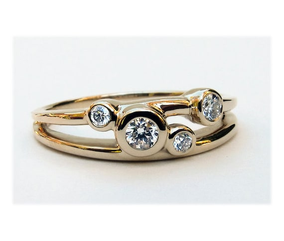 Diamond Wedding Ring, 14k Gold Diamond Ring, Diamond 14k Gold 4 Stone Ring, 4 Stone Mothers Ring