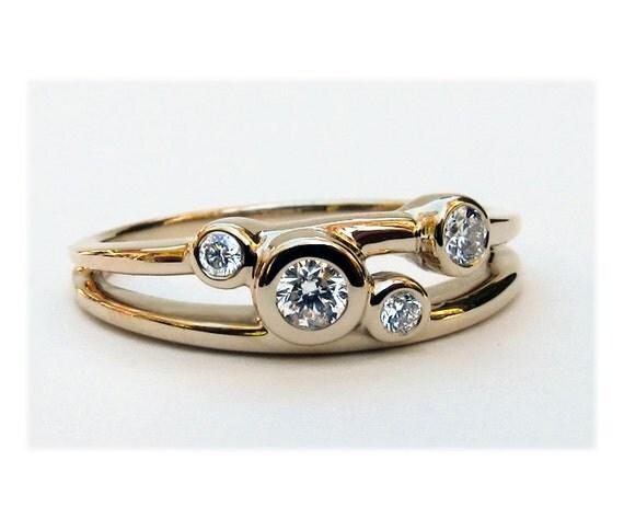 Diamond Wedding Ring, 14k Gold Diamond Ring, Diamond 14k Gold 4 Stone Ring, 4 Stone Wedding Ring, Mothers Ring