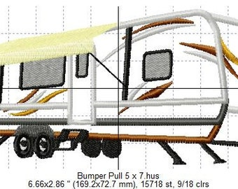SFancy Applique Camper Bumper Pull 5 x 7