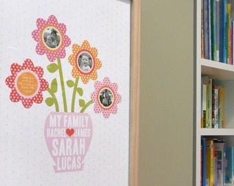 Family Photo Flower Garden modern nursery wall art print poster custom - 12x16