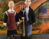 American Gothic Dolls Art Miniature Collectible Set Americana Farm Art