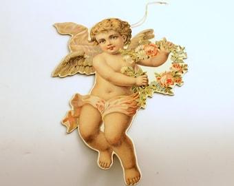 Vintage Die Cut Angel Ornament, Cherub, Christmas Ornament, Christmas Decoration