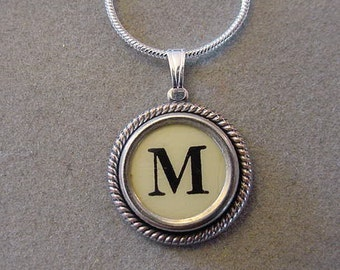 Typewriter key jewelry Necklace CREAM LETTER M Typewriter Key Necklace Serif font M  Initial Necklace M