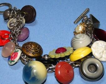 Vintage sewing button bracelet OOAK, handmade