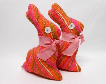 Orange & Pink Fabric Bunny Rabbit Home Decor Decorative Accent Springtime Easter
